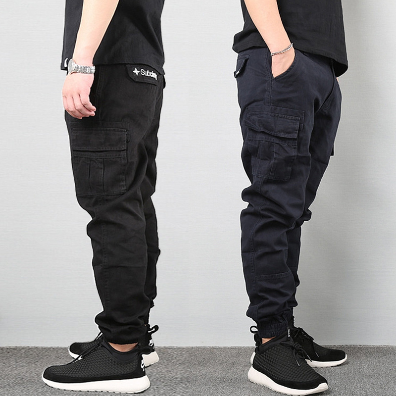 Japanese Vintage Fashion Men Jeans Loose Fit Big Pockets Casual Cargo Pants Harem Trousers Streetwear Hip Hop Joggers Pants Men