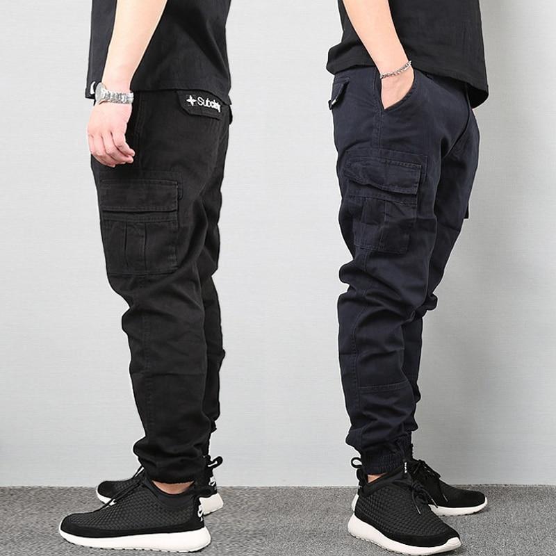 Japanese Vintage Fashion Men Jeans Loose Fit Big Pockets Casual Cargo Pants Harem Trousers Streetwear Hip Hop Joggers Pants Men
