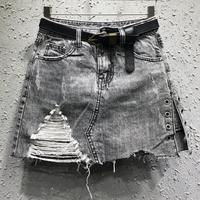 Denim skirt 2019 autumn new fashion denim skirt anti light hole women jeans a line mini skirt