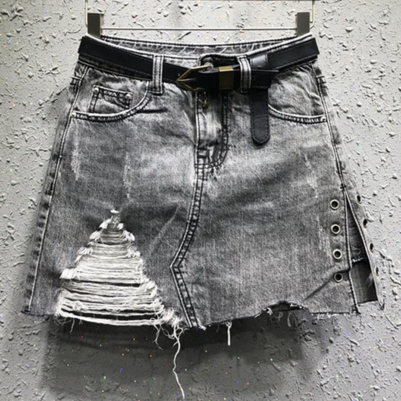 Denim skirt 2019 autumn new fashion denim skirt anti-light hole women jeans a-line mini skirt