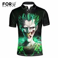 FORUDESIGNS Brand Vintage Polo Shirts for Man 3D Joker Print Polo Shirts Fashion Max Breathable Spandex Polo For Men Asian Size