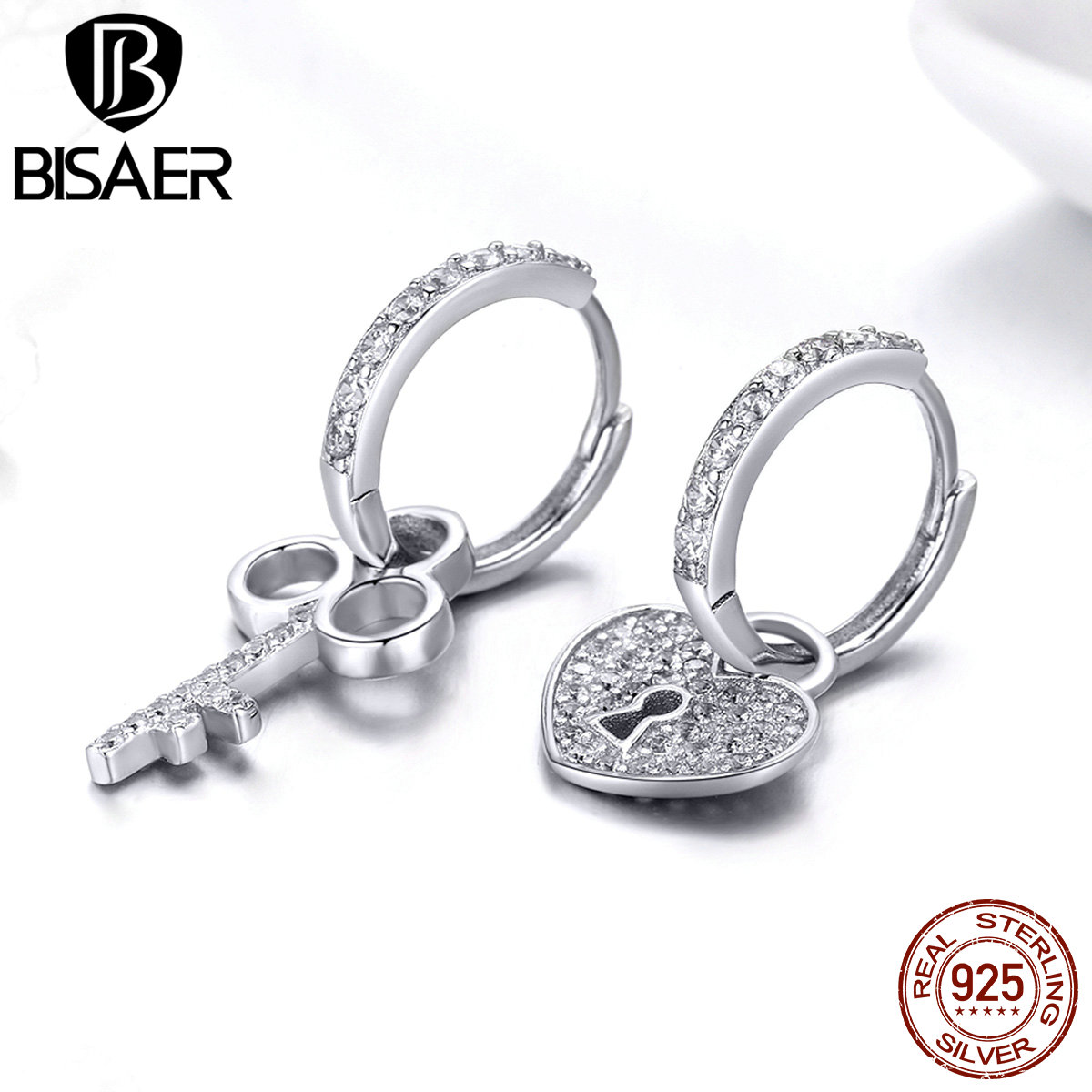 BISAER Hot Sale 925 Sterling Silver Love <font><b>Heart</b></font> <font><b>Lock</b></font> & Crystal Key Shape Stud <font><b>Earrings</b></font> Stud Women Wedding Jewelry Brincos ECE577 image