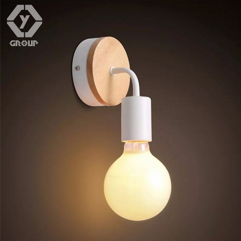 OYGROUP Modern Led Wood Wall Lamp Iron Metal Wall Light Fixtures Living Bedroom Home Lighting Lamparas