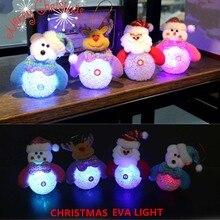 2020 Christmas Ornaments Glowing Santa Claus Snowman Reindeer Pendant LED Night light Christmas Tree Decor Door Wall Pendant