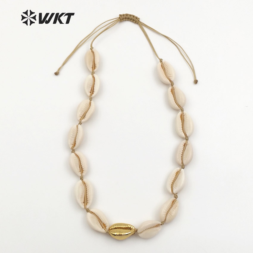 WT-JN036 Wholesale New coming Diy Natural white shell Necklace Jewelry Elegant with 24k Gold for girl Birthday Gift