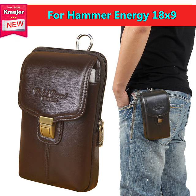 46a2d29d11 Luxury Genuine Leather Carry Belt Clip Pouch Waist Purse Case Cover for  Hammer Energy 18x9 5.7