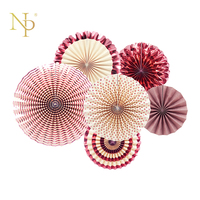 Nicro 6Pcs Set Rose Gold Party Decorative Creative Paper Flower Fan Handmade Folding Fan Party Wedding