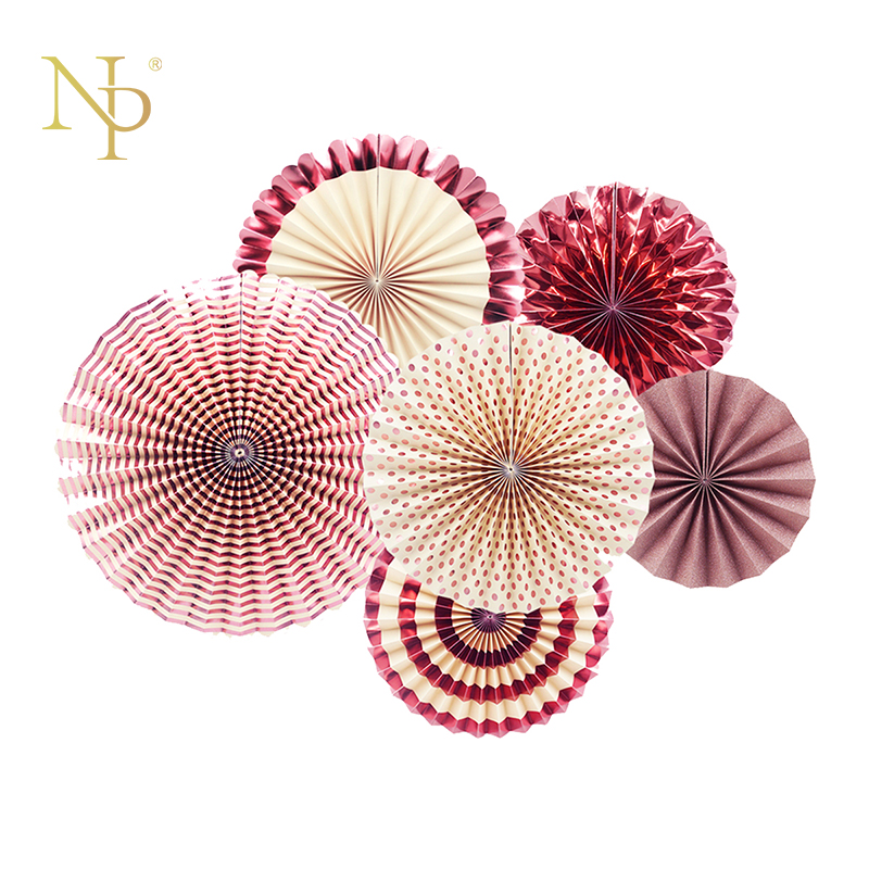Nicro 6Pcs/Set Rose Gold Party Decorative Creative Paper Flower Fan Handmade Folding Party Wedding Shopping Mall Supplie #FS02 ...
