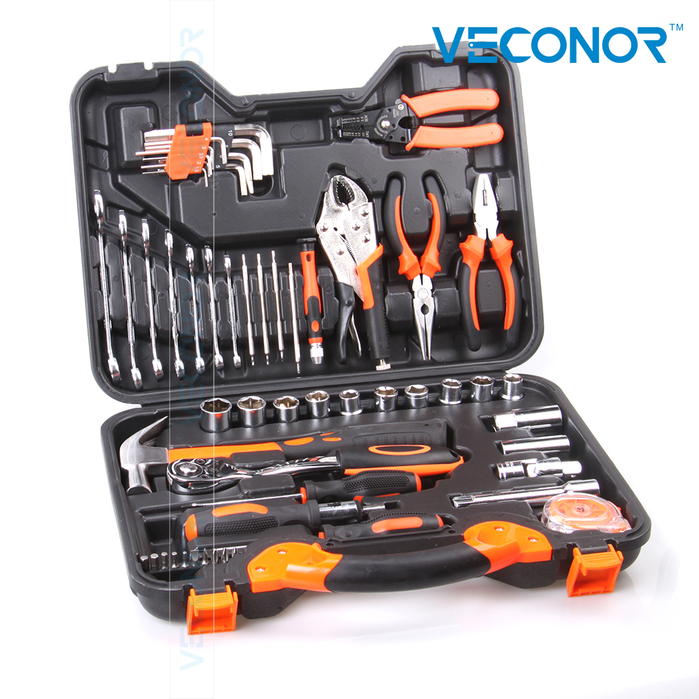 55pcs hand tool set kit household tool kit saw screwdriver hammer tape measure wrench plier multifunction household composition tool tape measure pliers utility knife family tool kit