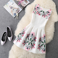 New Fashion Clothes 2017 Summer Dress Women Sleeveless Print Jacquard Casual Dress Ladies A-Line Party Dresses vestido de festa