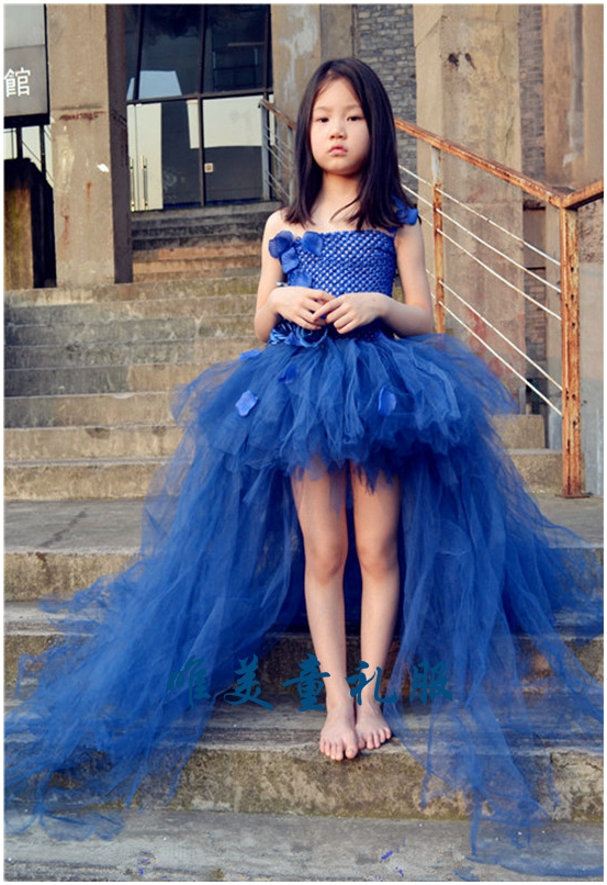 Newest Design Princess Navy Blue Flower Girl Dress With Long Train Tulle Party Tutu Kid Wedding In Dresses From Mother Kids On