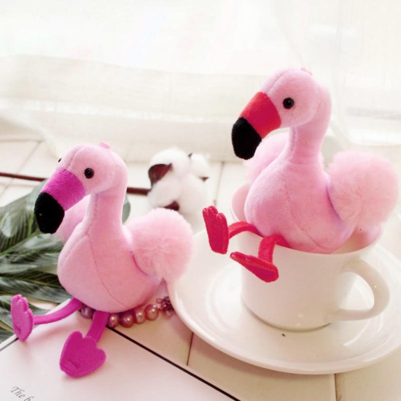 12cm Little Pink Flamingo Plush Toys Stuffed & Plush Animals Soft Toys Keychain Key Ring Girls Bag Little Pendant Decoration
