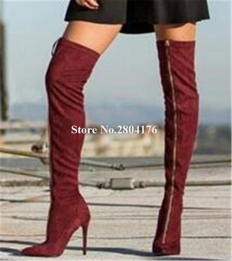 Women Fashion Pointed Toe Front Zipper-up Over Knee Thin Heel Boots Wine Red Long High Heel Boots Club Shoes Dress ShoesWomen Fashion Pointed Toe Front Zipper-up Over Knee Thin Heel Boots Wine Red Long High Heel Boots Club Shoes Dress Shoes