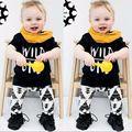 Новая Мода baby boy одежда набор мужской с коротким рукавом печати футболка + брюки 2 шт. новорожденного ребенка девушка одежда набор 19