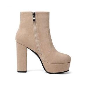 Image 4 - NEMAONE 2020 חדש למעלה איכות צאן עור מגפי נשים גבוהה עקבים פלטפורמת קרסול מגפי נשים בוהן עגול סתיו חורף נעליים