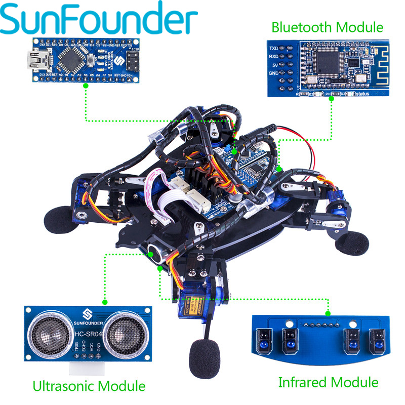 SunFounder Rollflash Bionic Robot Turtle with APP Control Toy Kit for Arduino Obstacle Avoidance Rbotics Kits