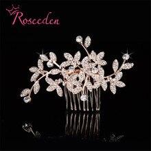 Великолепные серебряные прозрачные кристаллы из горного хрусталя свадебный гребень для волос кусок волос Кристалл розовое золото для невесты украшения для волос RE784