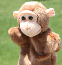 Story toy 1pc 26cm cartoon naughty little monkey hand puppets plush pacify educational game perform prop stuffed babygift