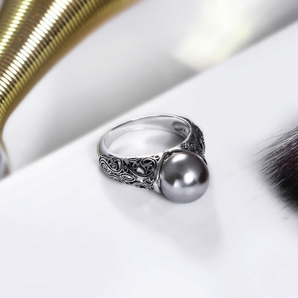 New Women fashion ring with Gray Pearl Trendy jewellery dropshipping anel anillos aneis bagues femme statement jewelry