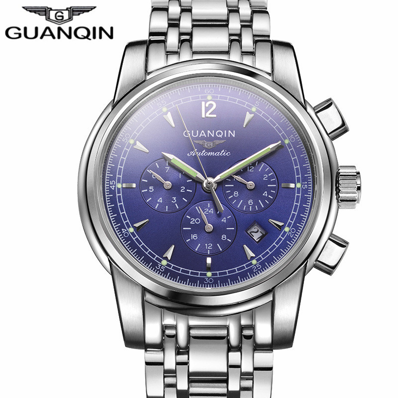2017  Automatic Date 24 Hours Luminous Clock Men Business Watches Luxury Silver Steel Mechanical Watch relogio masculino skone luxury date silver gold steel band automatic mechanical watches men diamond roman hours business watch relogios masculino