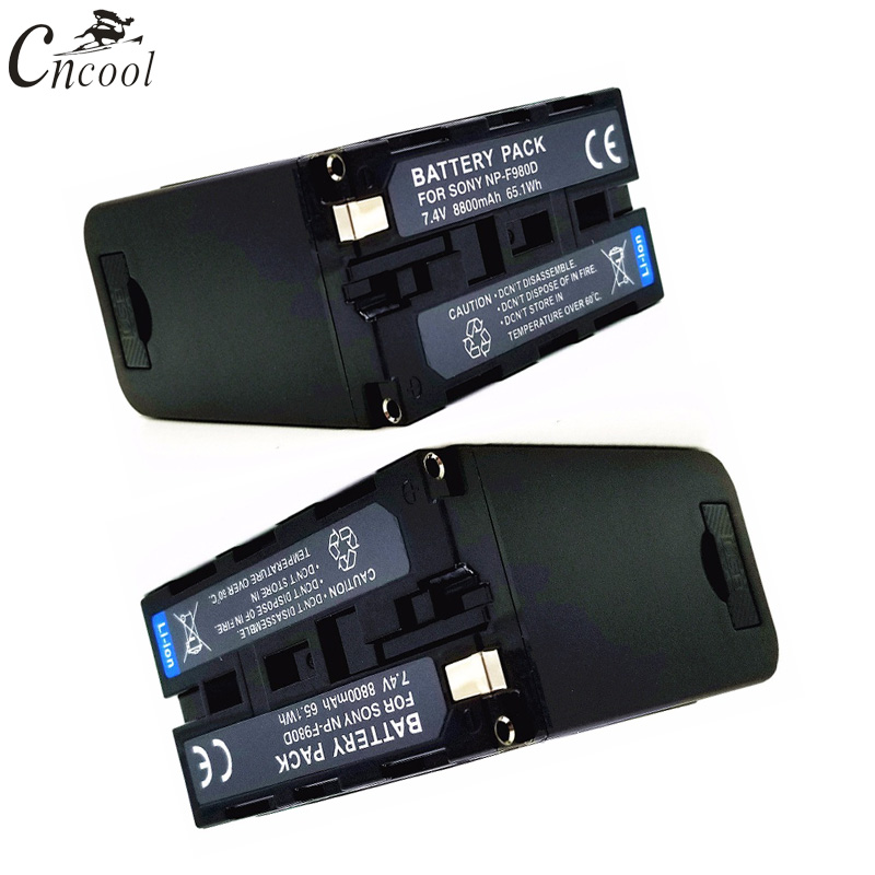 Cncool 2pcs 7.4v 8800mAh NP-F980D NP F980D F970 F960 Battery for SONY MC1500C 190P 198P F950 MC1000C HD1000C V1C Z5C Z7C PD198P игорь тальков игорь тальков коллекция легендарных песен mp3