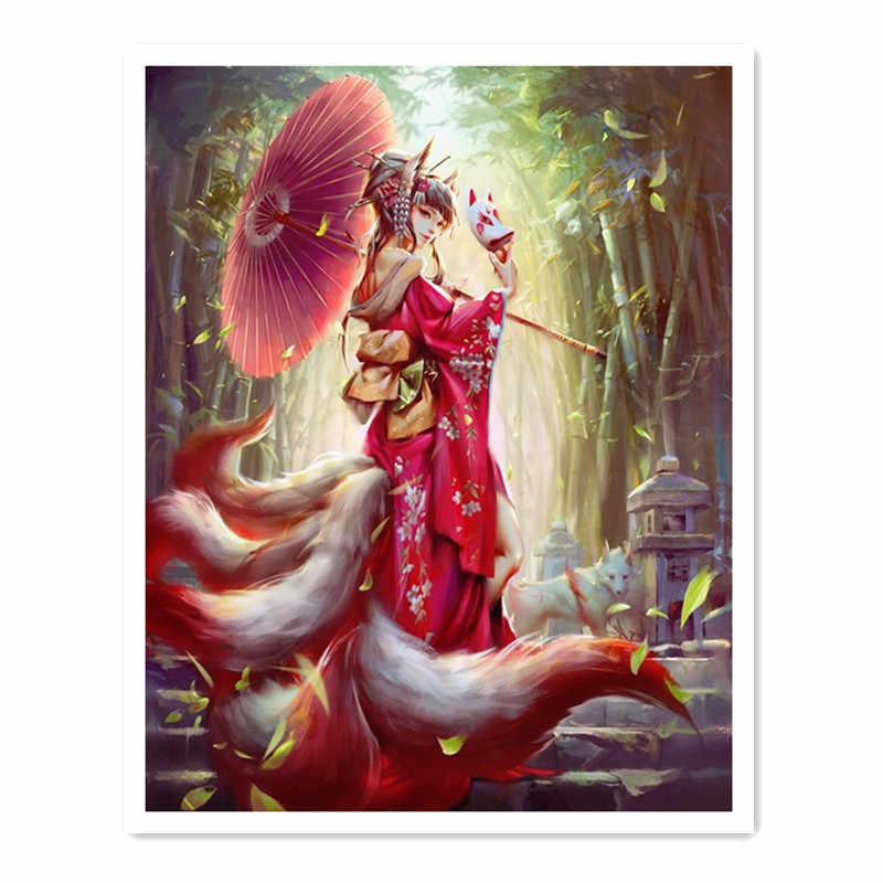 oneroom Ancient beauty and fox Animal For Embroidery Needlework 14CT Counted Unprinted DMC DIY Cross Stitch Kits Handmade