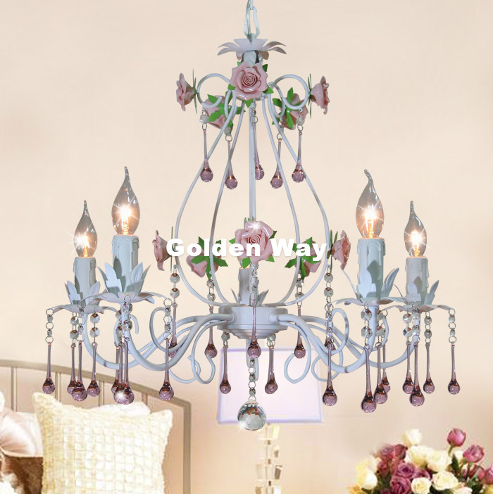 European White Rose Style Chandelier Light Luxury Decorative Pendant Lamp Indoor Iron Crystal Chandelier Dining Room LightingEuropean White Rose Style Chandelier Light Luxury Decorative Pendant Lamp Indoor Iron Crystal Chandelier Dining Room Lighting