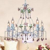 Europese Wit Rose Stijl Kroonluchter Licht Luxe Decoratieve Hanglamp Indoor Ijzer Kristallen Kroonluchter Eetkamer Verlichting