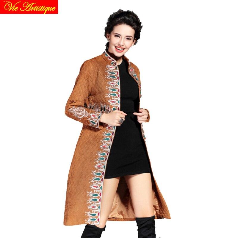 Bohemia floral winter jacket woman parka fem me hiver female long coats jackets big size coffee red black jazzevar miegofce VA