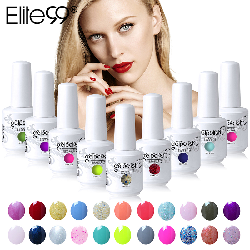 Elite99 15ml Soak Off Gel Nail Polish Long Lasting UV Gel Varnishes Nail Art Gelpolish Pick 10pieces From 539 Gorgeous Colors