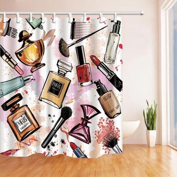 hot stylish beauty fashion drawing makeup perfume shower curtain trendy girly art lipstick bathroom curtain rose chic home decor