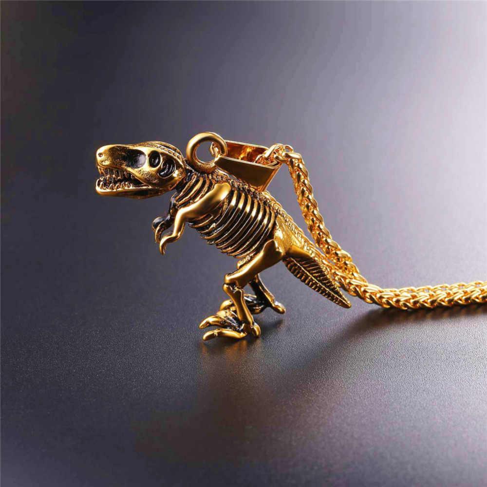 U7 ze stali nierdzewnej Tyrannosaurus Rex wisiorek naszyjnik złoty/czarny kolor kości dinozaurów kopalnych Punk zwierząt mężczyzn biżuteria P1117