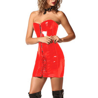 Womens Sexy Wetlook PVC Faux Leather Corset Dress Gothic Long Black Red Shape Body Slim Bustiers Overbust Corsets