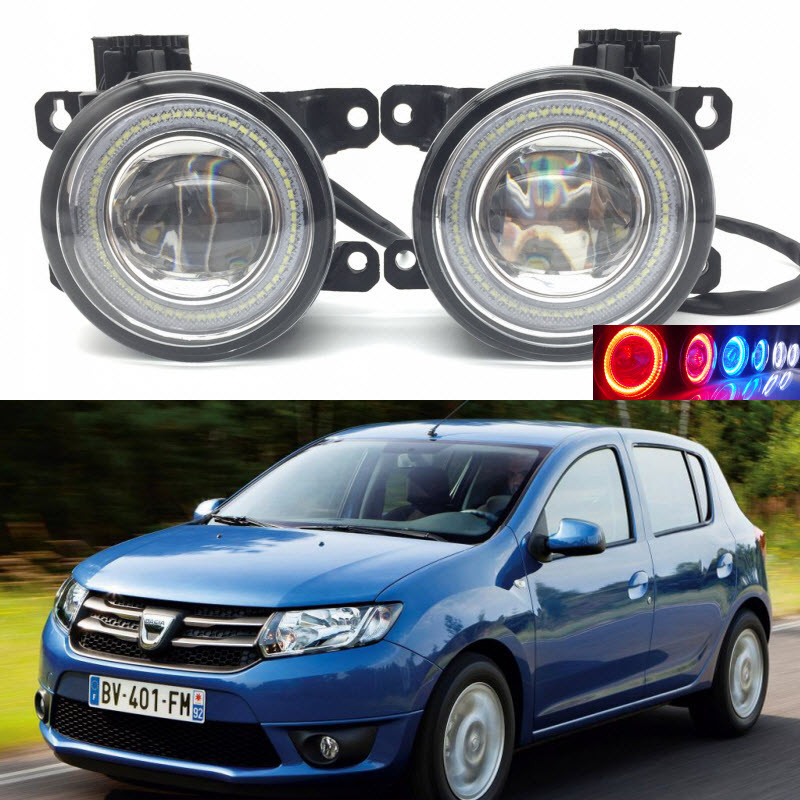 For Dacia Sandero 2008-2016 2-in-1 LED 3 Colors Angel Eyes DRL Daytime Running Lights Cut-Line Lens Fog Lights dacia sandero б у в европе