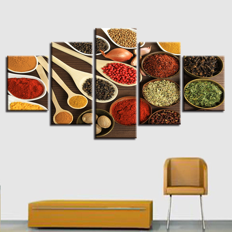 Embelish 5 Pieces Spoon Grains Spices Poster Modern Kitchen Decor Modular Wall Art Pictures Home Decor HD Canvas Paintings