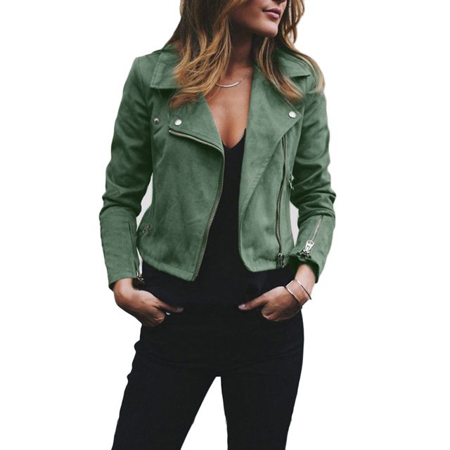 afd5467175f Womens Soft Suede Leather Jacket Cool Lapel Zipper Coat Biker Motorcycle  Jackets Autumn Winter Female Rivet Slim Outwear