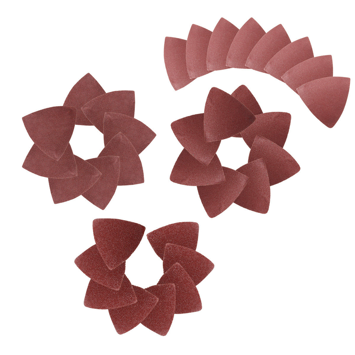 32Pcs 60/80/120/240 Red Grit Sanding Sheet Discs Triangle Grinder Sandpaper Pad 80mm Oscillating Abrasive Polishing Tool