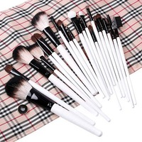 20 PCS Cosmetic Accessories Professional Makeup Brushes Set Beige Plaid Pouch Bag Wholesale Free Shipping