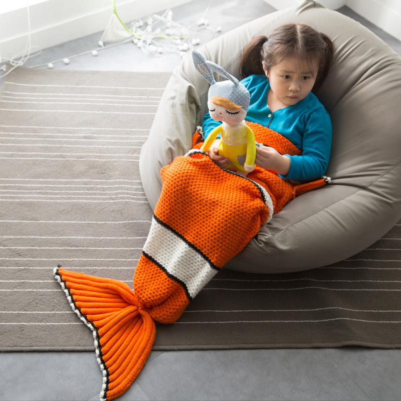 Warm Orange Acrylic Fibers Little Mermaid Blanket Kids Knitted Tail Blankets Plaid Children Bed Sofa Sleeping Throw Cover