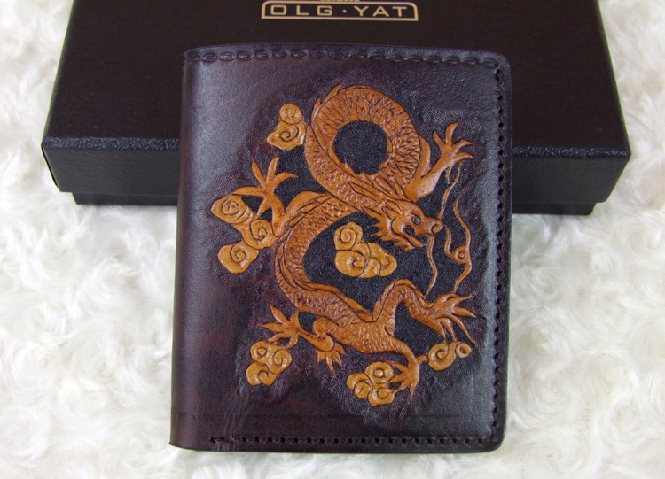 Hong Kong OLG. YAT zodiac Dragon handmade carving purse Men's brief paragraph(vertical)purse/ wallet Italian pure leather wallet робот zodiac ov3400