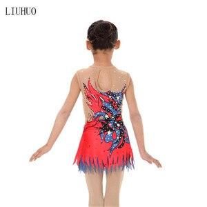 Image 3 - ילדה נשים אומנותית התעמלות ביצועים חליפת התעמלות אמנותית שמלת עגול צוואר שרוולים אדום סגול דפוס