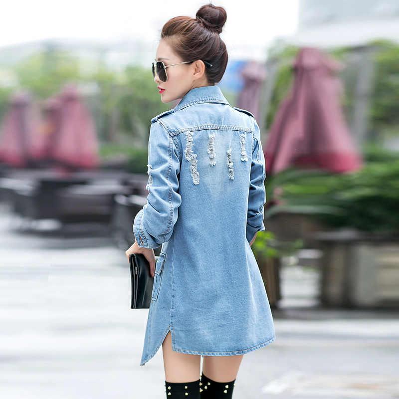 2019 весенний модный джинсовый Тренч с отверстиями и длинными рукавами женские ветровки кардиган Южная Корея JK712