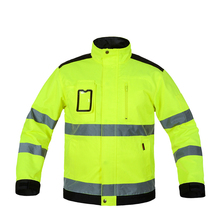 лучшая цена Overalls Reflective Jacket High visibility Men Outdoor Working Tops Fluorescent Yellow Multi-pockets Safety Workwear Clothing