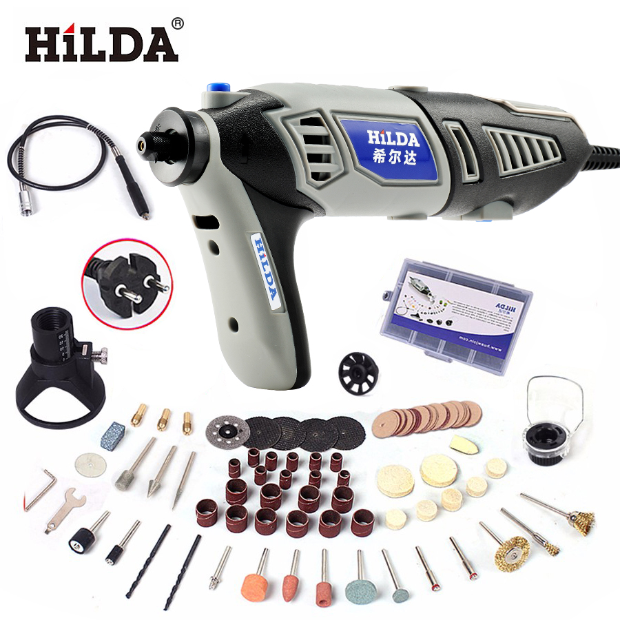 HILDA 220V 180W Variable Speed Dremel Rotary Tool Electric Mini Drill with EU Plug Flexible Shaft and 133pcs Accessories tasp 220v 130w electric dremel rotary tool variable speed mini drill with flexible shaft and 175pc accessories storage bag