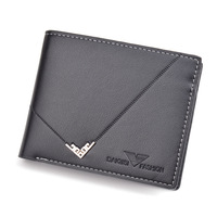 Men's Wallet Short Fashion New Ultra thin Wallet Multi card 3 fold Youth Zipper Cross section Business Soft Wallet
