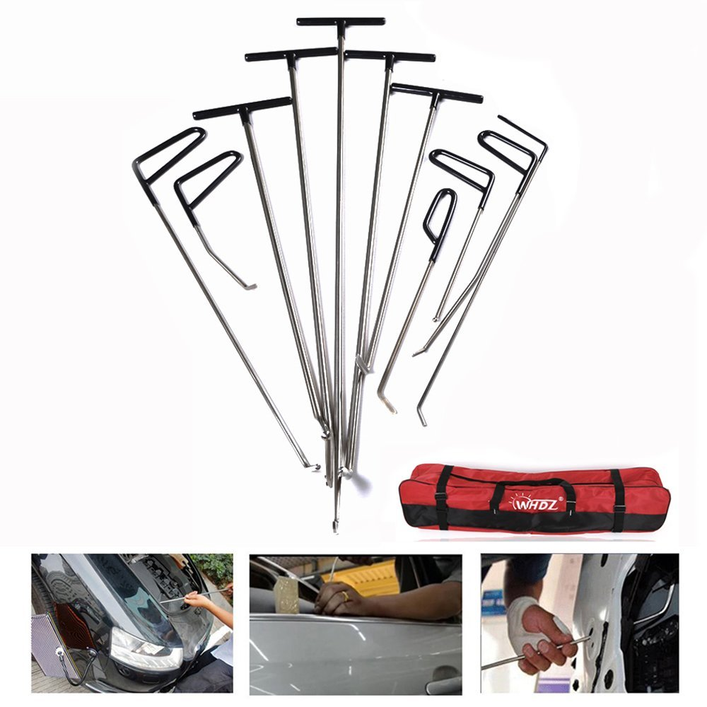 WHDZ 11 Pieces Hail and Door Ding Repair Starter Set Auto Body Dent Removal Pdr Rod Tool Kit