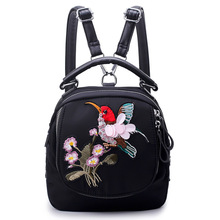 2018 Oxford Women Backpack Handmade Dragonfly Embroidery Bird Mini Rhinestone Fashion Travel Bag Small School