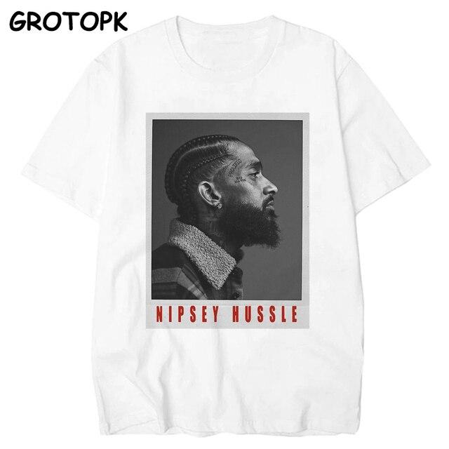 De Grote Nipsey Gedrukt Mannen T-shirt 2019 Hip Hop Wit Tshirt Harajuku Streetwear Rapper Lil Peep Nipsey Hussle Mannen kleding