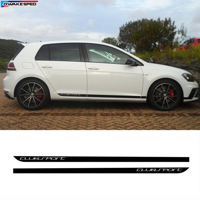 For Volkswagen Golf 7 MK7 Car Door Side Skirt Strips Sticker Black Carbon Fiber Clubsport Styling Auto Body Decor Vinyl Decal