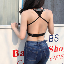 2017 Summer Very Sexy Backless Halter Tank Top Women Touch Cotton Linen Fabric Short Straps Pure Color Slim TYPE